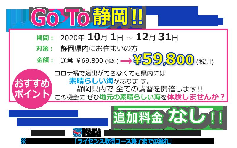 【GoTo静岡キャンペーン】静岡市ダイビング・フリースタイル追加料金なし人数限定